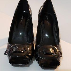 Hannah Patent black peep toe pump